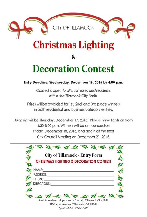 contest 2015 entry form city of tillamook lighting and decoration