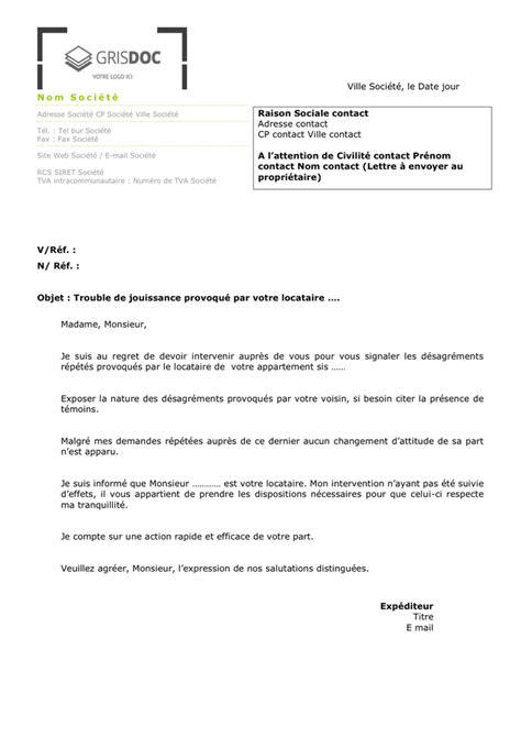 Exemple De Lettre Locataire mod 232 le de lettre locataire bruyant ou malpropre doc