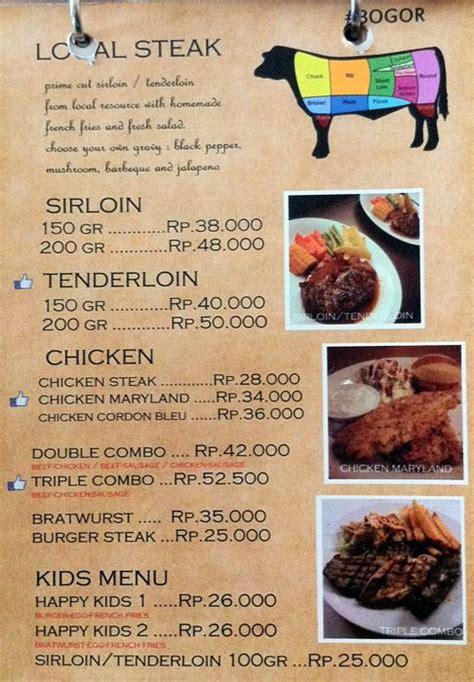 Steak House Menu by Happy Cow Steak Menu Menu For Happy Cow Steak Bogor