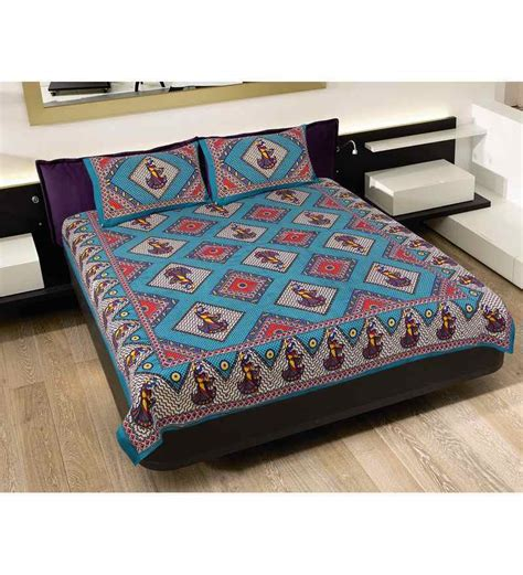 indian bed sheets grj india multi colour rajasthani pure cotton double bed