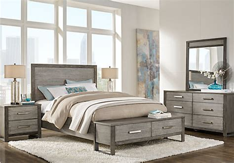 abbott gray  pc king panel bedroom  storage contemporary