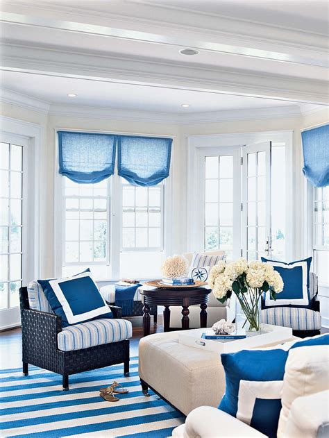 Black White And Blue Living Room Ideas by White Wall Room With Glass Windows And Blue Blinds