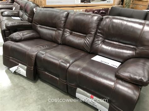 costco leather recliner sofa pulaski furniture leather reclining sofa costco weekender