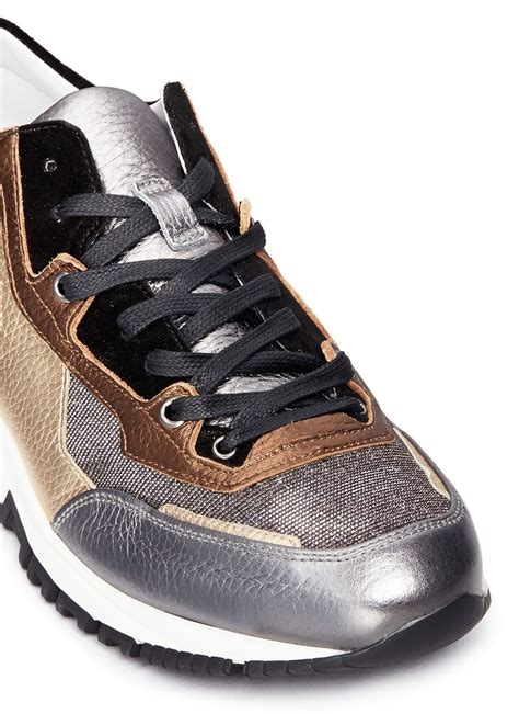 lanvin s sneakers lanvin basket suede and metallic leather sneakers lyst