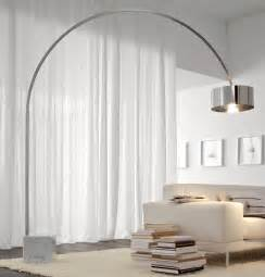 Modern Living Room Interior Design - lighting great arc floor lamp for living room decor with beige sofa and sheer curtains plus
