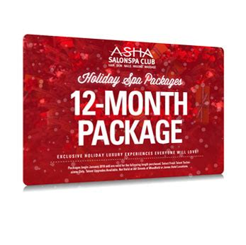 Aveda E Gift Card - 12 month salonspa club sler package asha salonspa