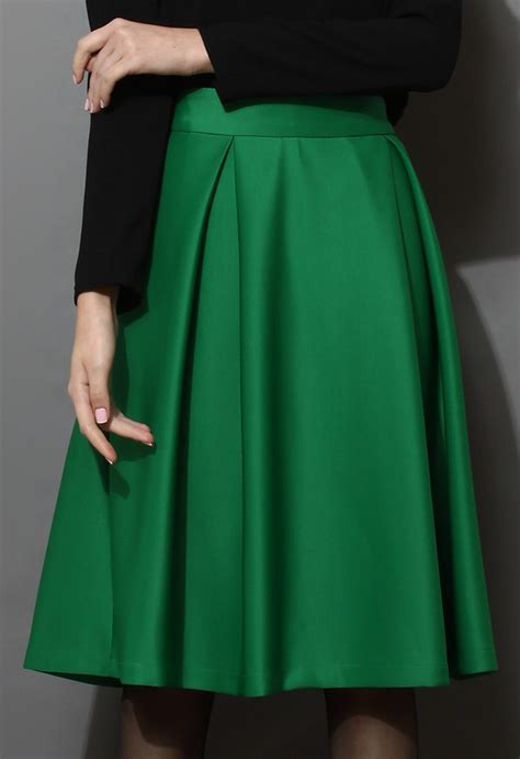 skirt a line midi skirt green wheretoget