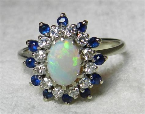 deco opal engagement rings opal engagement ring 14k opal sapphire ring