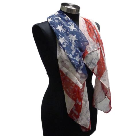 womens usa vintage american flag scarf stripes