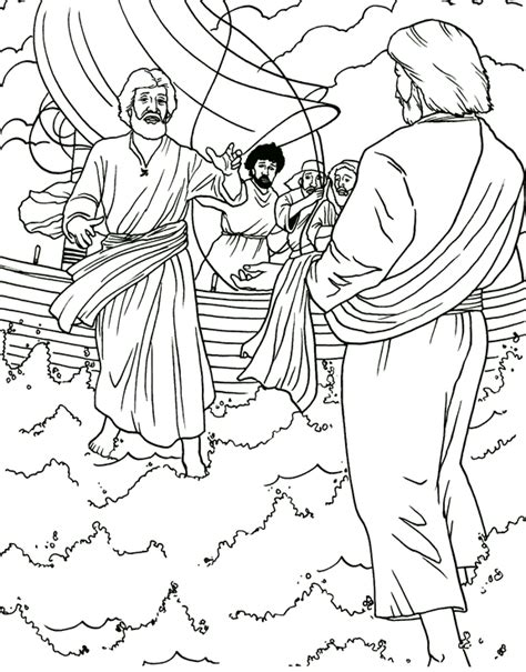 coloring pages jesus in the boat walking with jesus clip