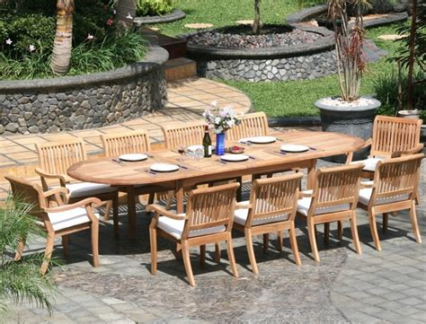 11 piece patio table 11 piece grade a teak dining set large oval table and