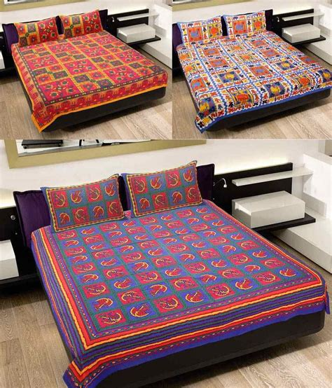 indian bed sheets grj india multicolor cotton bed sheets pack of 3 buy