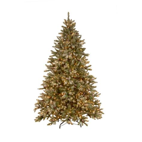 home depot alexandria pine tree national tree company 7 5 ft pre lit snowy pine artificial tree with clear lights and