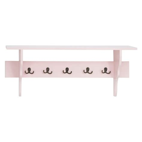 woodland imports pink wall shelf with 5 hooks wall