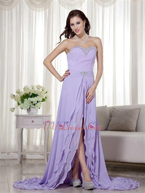 lavender color dress designer lavender prom dress with detachable high low skirt