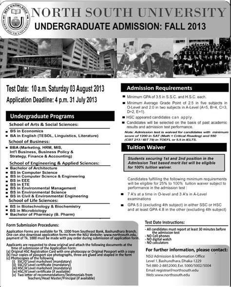 Nsu Bangladesh Mba Program by Undergraduate Admission Fall 2013 South