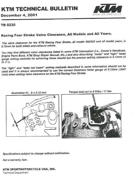 Ktm 450 Valve Adjustment Intake And Exhaust Valve Adjustment Ktm 450 Exc 2003