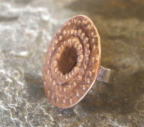 copper and sterling silver studded textured ring