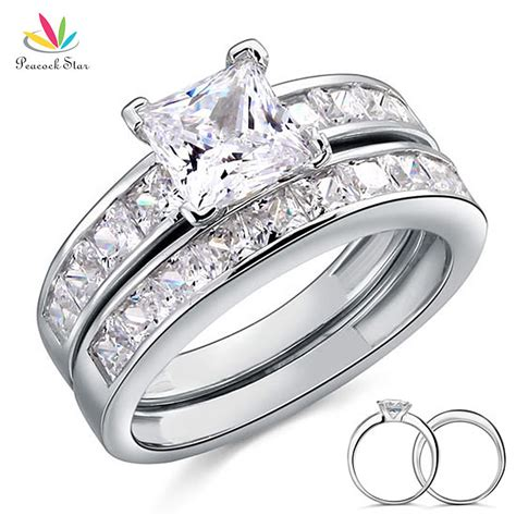 solid 925 sterling silver 2 pc wedding ring set wholesale
