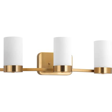 brushed brass bathroom lighting progress lighting elevate collection 3 light brushed