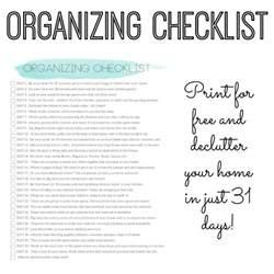 organize my house checklist organizing checklist declutter your home in 31 days