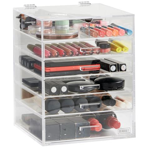 Acrylic Makeup Organizer 5 Drawer by Beautify Large 6 Tier Clear Acrylic Cosmetic Makeup Cube