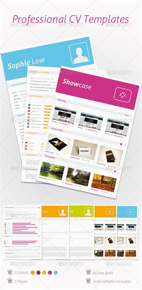 5 Colors Cv Resume Portfolio Graphicriver Indesign 5 5 Templates