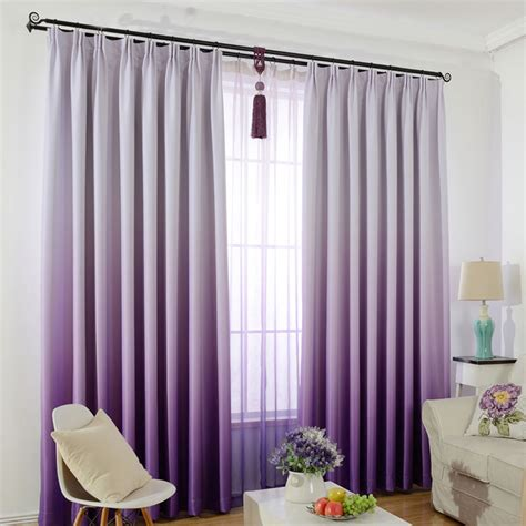 Purple And White Bedroom Curtains by Window Curtain For Bedroom Solid Color Gradient