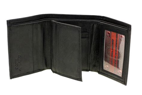 Cowhide Wallet - mens trifold wallet genuine leather center flap
