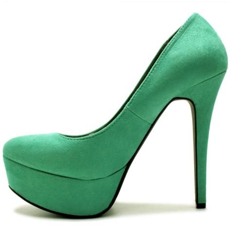 womens green suede style platform heel court shoes from