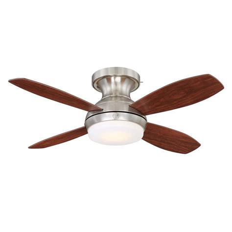 home depot hugger ceiling fans clarkston 44 in indoor brushed nickel ceiling fan with