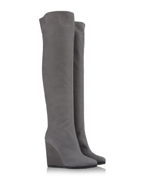 gray the knee boots vicini the knee boots in gray grey lyst
