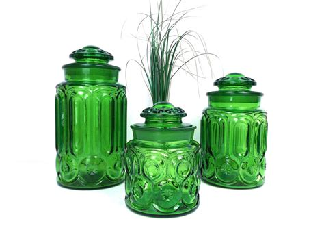 vintage 60s heavy green glass canister set of 3 apothecary
