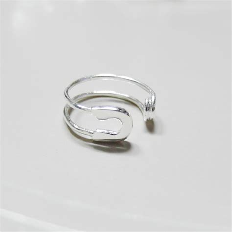 knuckle ring adjustable ring safety pin ring in white