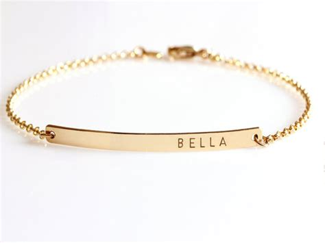 custom name bracelets gold bar bracelet custom name bracelet engraved by jewelryblues
