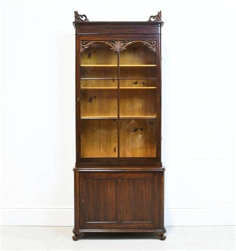 Narrow 19th Century Bookcase Or Vitrine With Cabinet In Narrow Mahogany Bookcase
