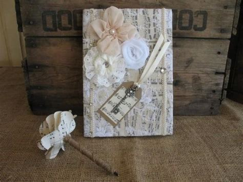 Guest Book Wedding Guest Book And Pen Shabby Chic Shabby Chic Wedding Accessories