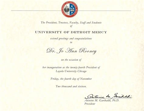 Detroit Mercy Mba by Presidential Inauguration Loyola Chicago