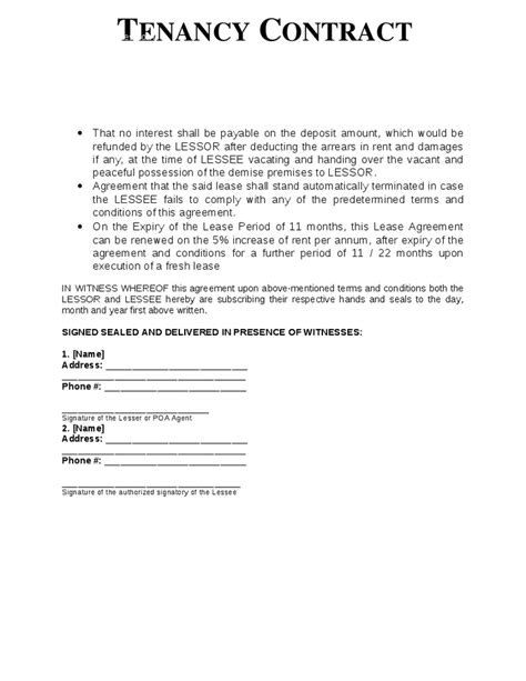 Sle Letter Of Agreement Between Landlord And Tenant Tenancy Contract Template Hashdoc