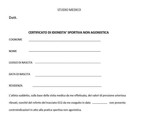 Modulo Cambio Residenza Roma by Modello Certificato Medico Non Agonistico