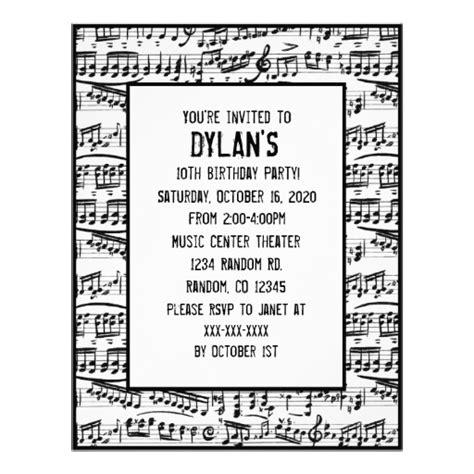printable birthday invitations music theme free printable music themed birthday party invitations