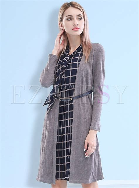 Grid Collar Dress chic grid collar a line dress ezpopsy