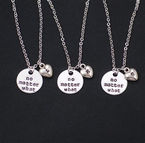 3 best friends necklaces personalized initial charm no