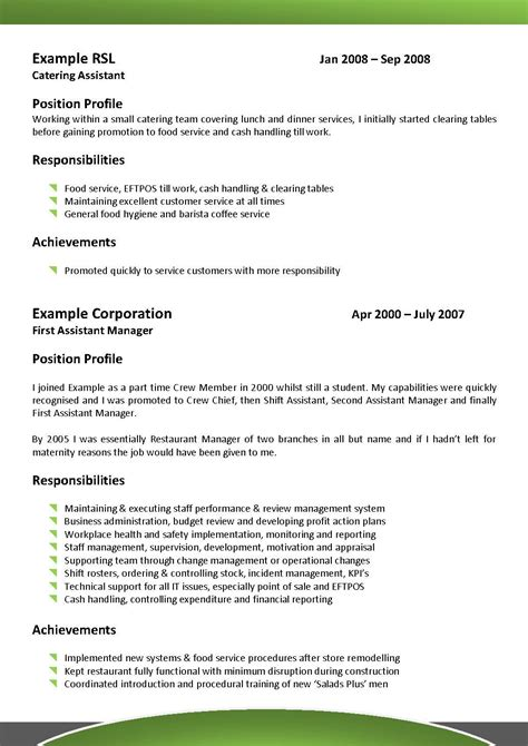 Resume Restaurant Manager Australia Cover Letter Sles For Restaurant Supervisor