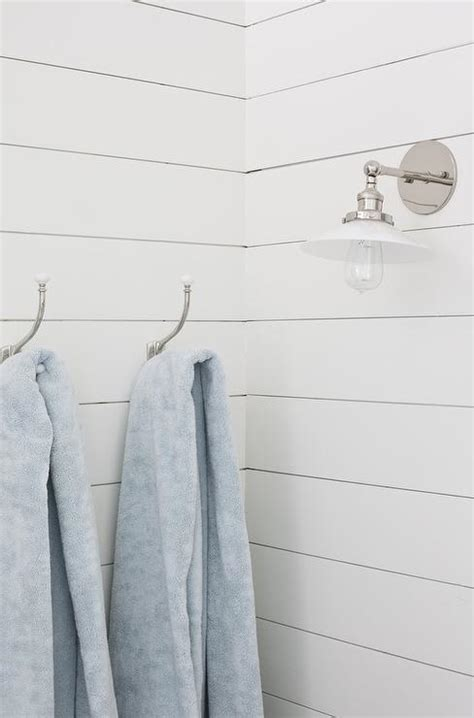 Shiplap Pics White Shiplap Bathroom Wall With Vintage Towel Hooks