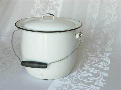 white pot white enamelware chamber pot bucket lid wooden handle enamel