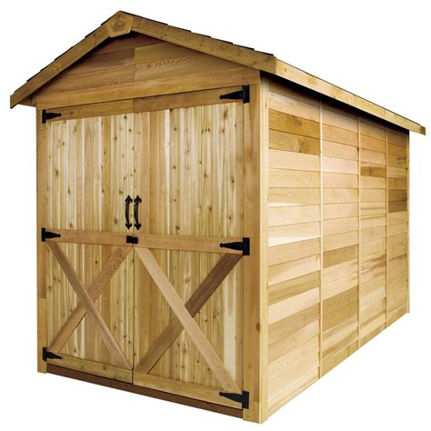 shop cedarshed rancher gable cedar storage shed common