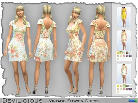 dresses sims 4 download the sims resource vintage flower dresses sims 4 downloads