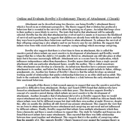 Attachment Theory Essay by Attachment Theory Essay