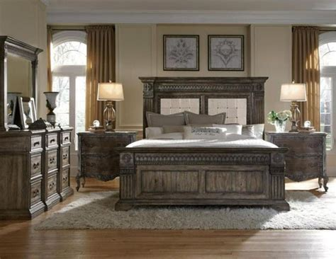 traditional king bedroom sets pulaski furniture arabella br medium wood 5 piece king